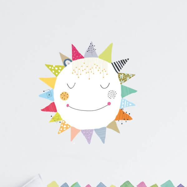 מדבקות קיר לילדים שמש צבעונית