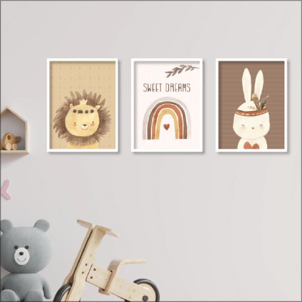 תמונות ממוסגרות בעיצובים - בוהו קשת עם חיות