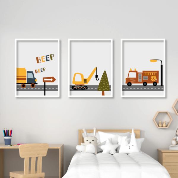 שלישיית תמונות משאיות - תמונות ממוסגרות לחדרי ילדים